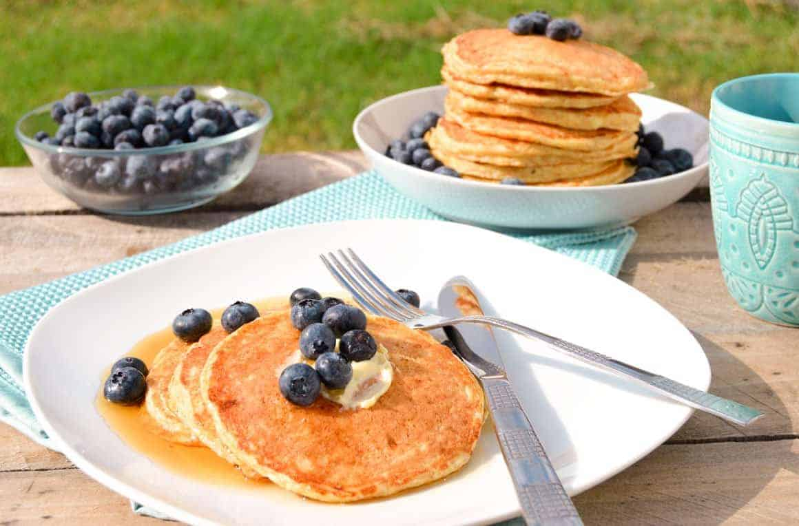 Fluffy Cottage Cheese Pancakes with blueberries plated