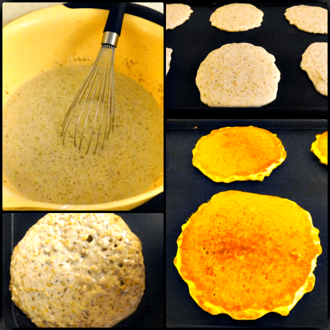 Steel Cut Oat Pancakes Steps Collage