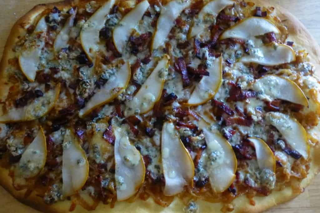 Caramelized Onion, Bacon & Pear Pizza after baking