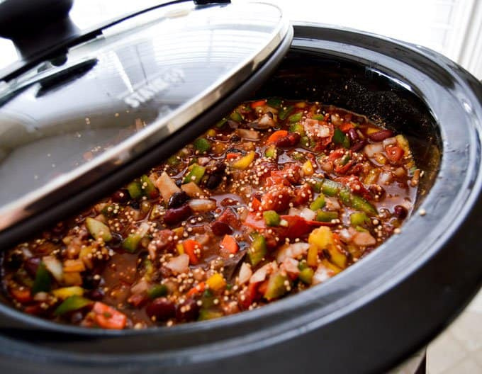 Slow cooker Vegetarian Chili with Quinoa & Chocolate close up pre-cook
