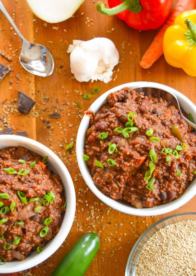Vegetarian Chili with Quinoa & Chocolate over top view