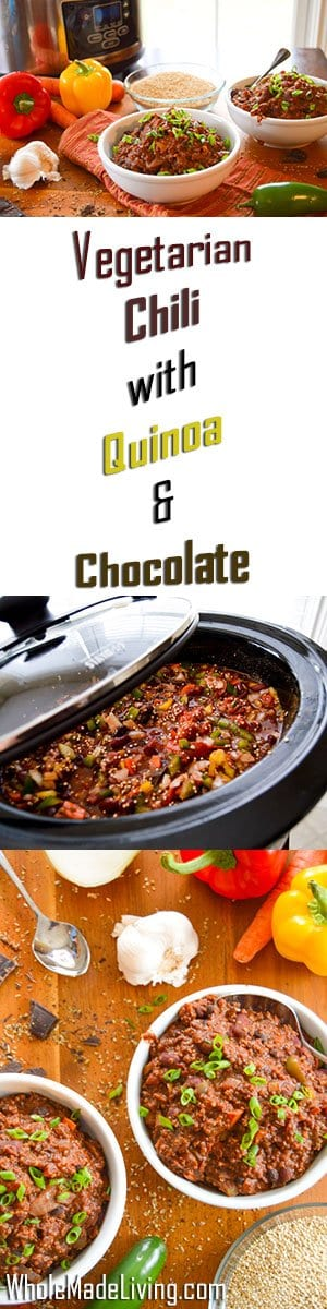 Vegetarian Chili with Quinoa & Chocolate Pinterest Collage