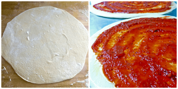Basic Pizza Sauce with pizza dough and dough sauced