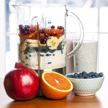 Blender with fruit smoothies