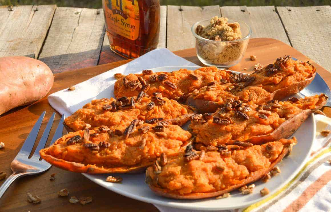 Twice Baked Sweet Potatoes with maple syrup and brown sugar