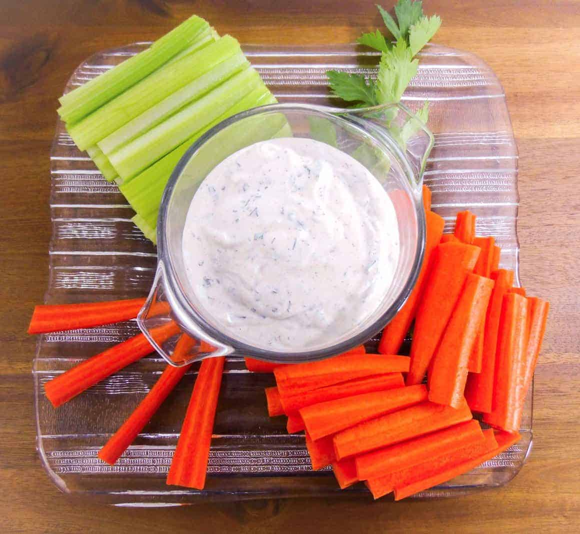 Homemade Buttermilk Ranch Dip with carrots and celery
