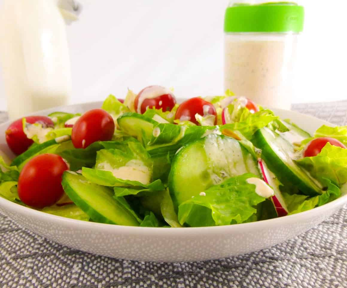 Homemade Buttermilk Ranch Dressing with Salad close up