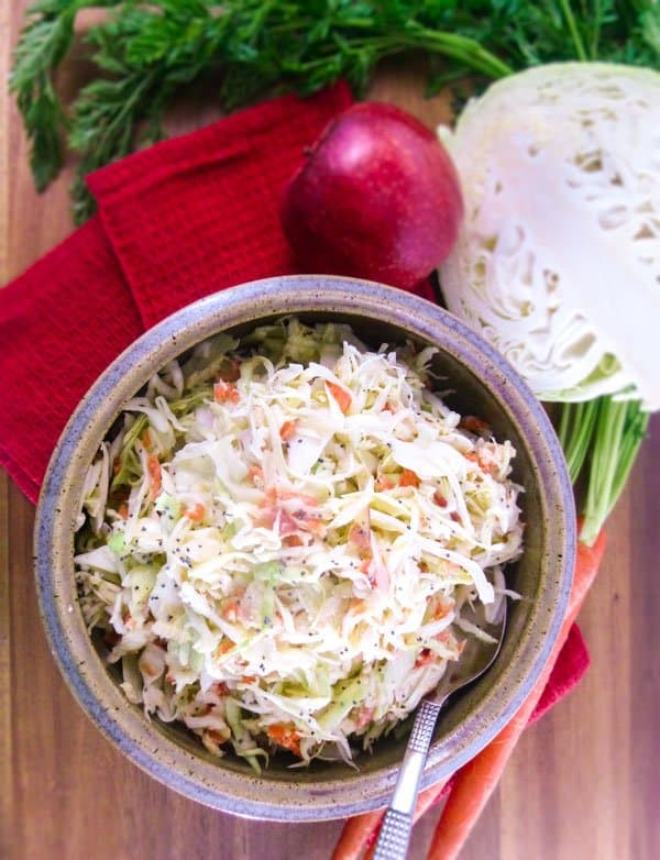 Tangy and Slightly Sweet Mustard Slaw close up from top