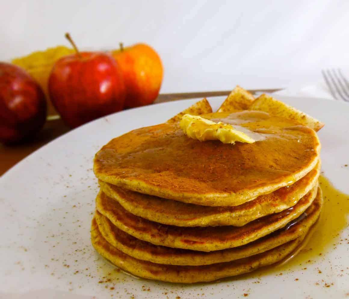 Apple Spice Pancakes with Homemade Pancake Mix and apples