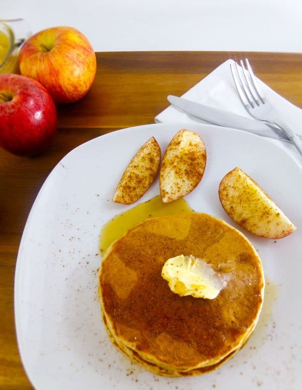 Apple Spice Pancakes with Homemade Pancake Mix on plate with butter and maple syrup