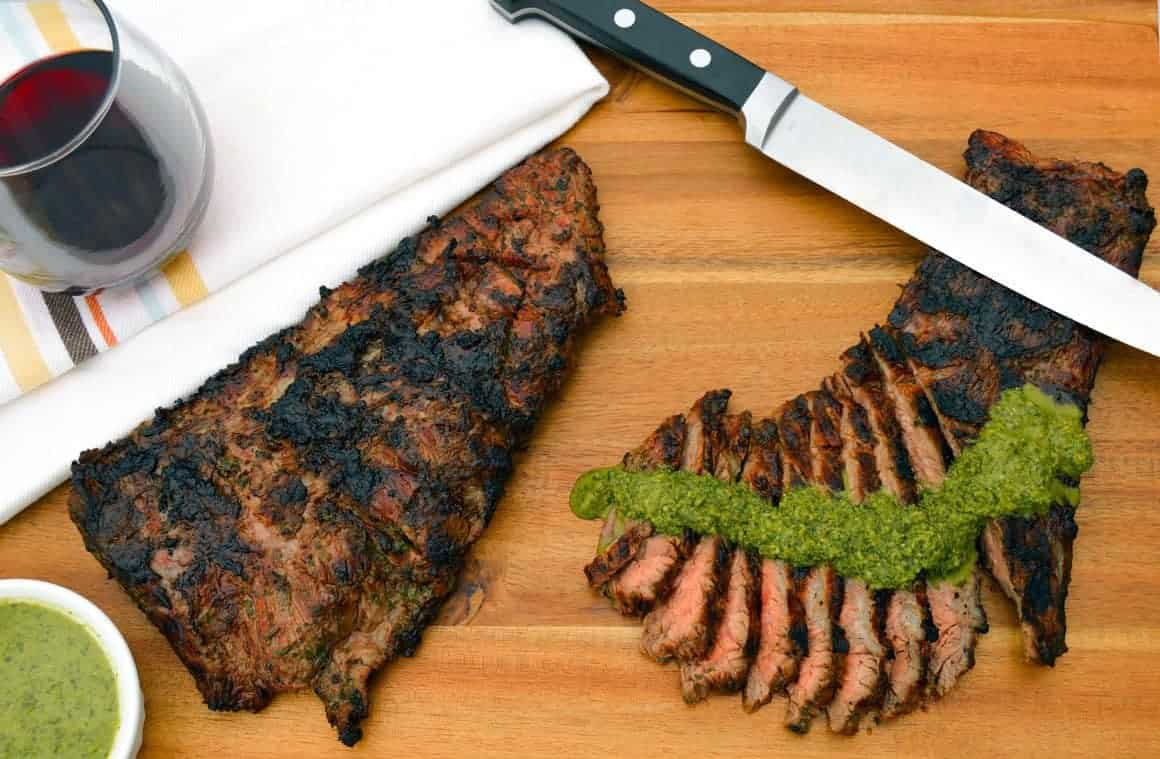 Grilled Skirt Steak with chimichurri sauce and red wine