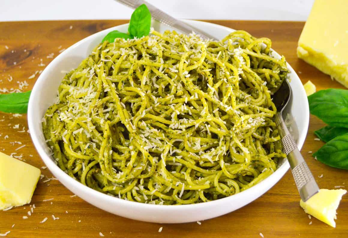 Poor Man's Pesto Sauce on spaghetti with asiago cheese