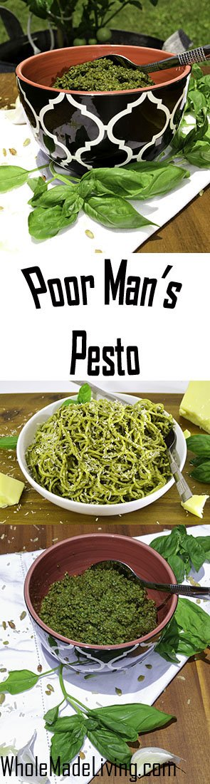 Poor Man's Pesto Sauce Pinterest Collage