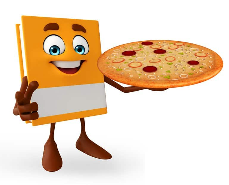 The School of Junk Book holding a pizza pie