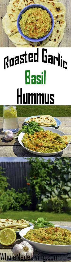 Roasted Garlic and Basil Hummus Pinterest Collage