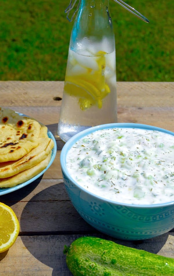 Tzatziki Sauce Dip with cold water and home grown cucmber