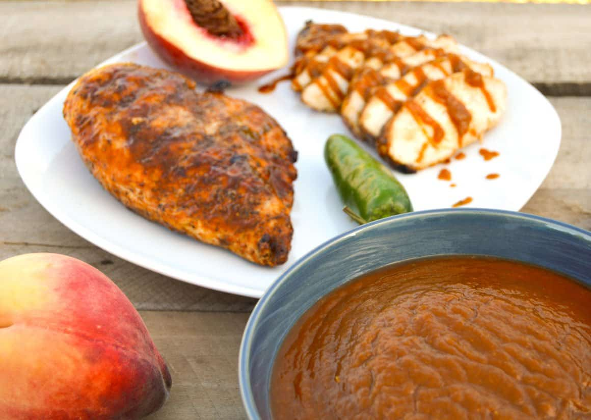 Roasted Jalapeño Peach BBQ Sauce with grilled chicken
