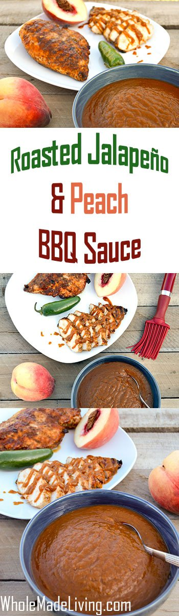 Roasted Jalapeño Peach BBQ Sauce Pinterest Collage