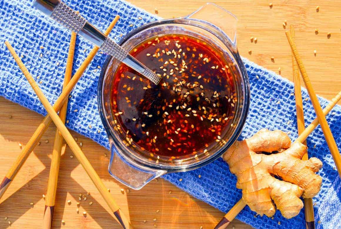 Ginger Teriyaki Sauce with ginger and chop sticks
