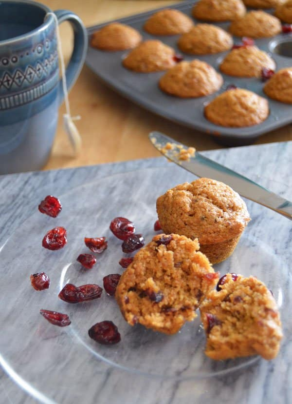 Cranberry-Ginger Pumpkin Muffins close side view