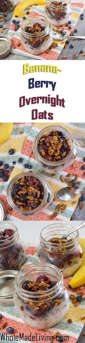Banana Berry Overnight Oats Pinterest Collage