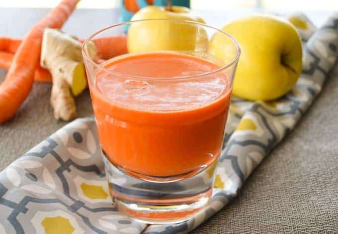 Ginger Carrot Apple Juice close up side view