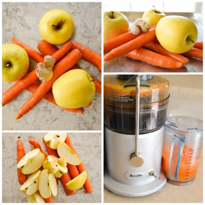 Ginger Carrot Apple Juice Collage
