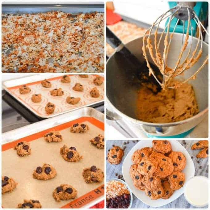 Step By Step Collage for Toasted Coconut Chocolate Chip Cookies with Cranberry