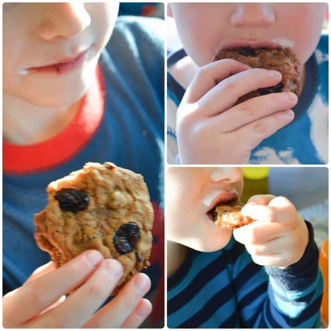 My kids enjoying the Toasted Coconut Chocolate Chip Cookies with Cranberry