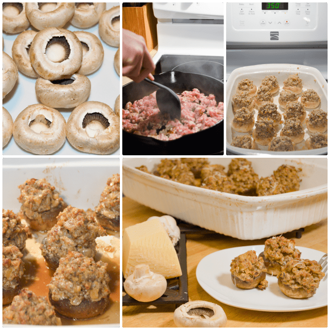 Step by Step Italian Sausage Stuffed Mushrooms Collage