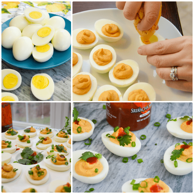 Step by Step Sriracha Deviled Eggs Collage
