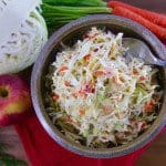 Tangy and Slightly Sweet Mustard Slaw over top view