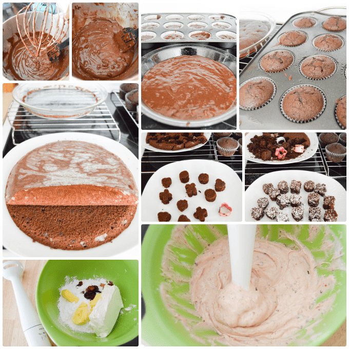 Step by Step how to make Double Chocolate Cupcakes with Cherry Frosting