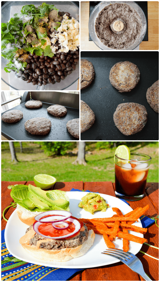 Step by step how to make Cilantro Black Bean Burgers