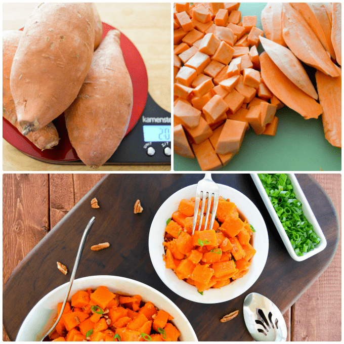 Orange Pecan Sweet Potato Salad Collage with potatoes, scale and cubed