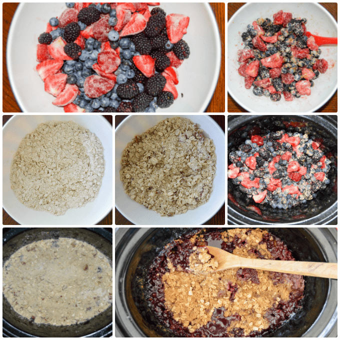 Step by Step Slow Cooker Triple Berry Crisp