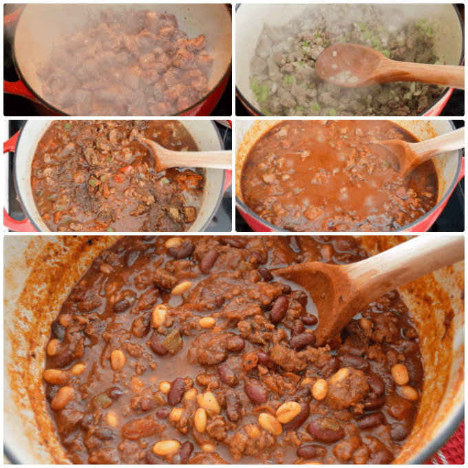 Bold Beefy Chili, step by step in dutch oven