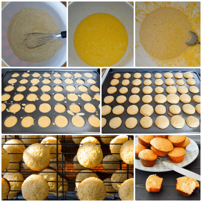 Mini Honey Cornbread Muffins step by step collage