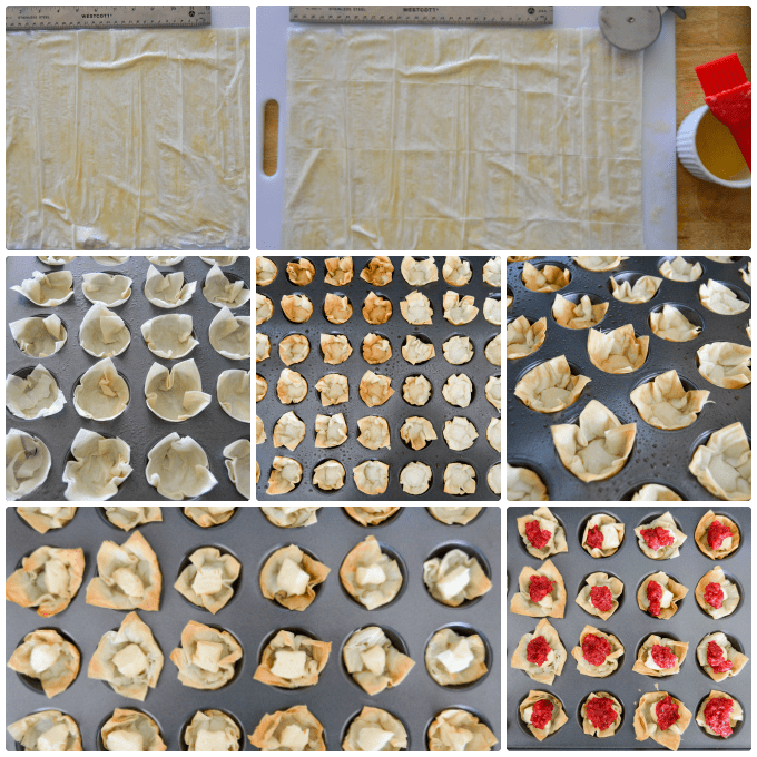 Brie & Cranberry Relish Phyllo Bites Step by Step Collage