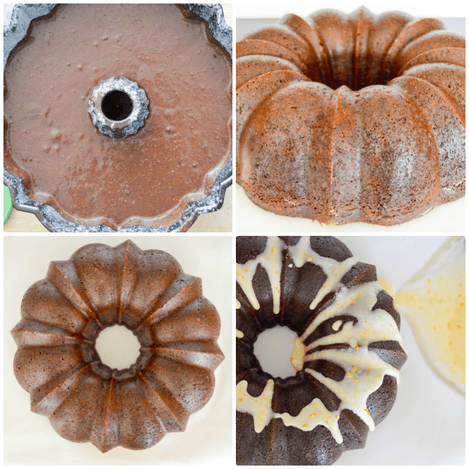 Orange Chocolate Bundt Cake filled pan, baked and glazing