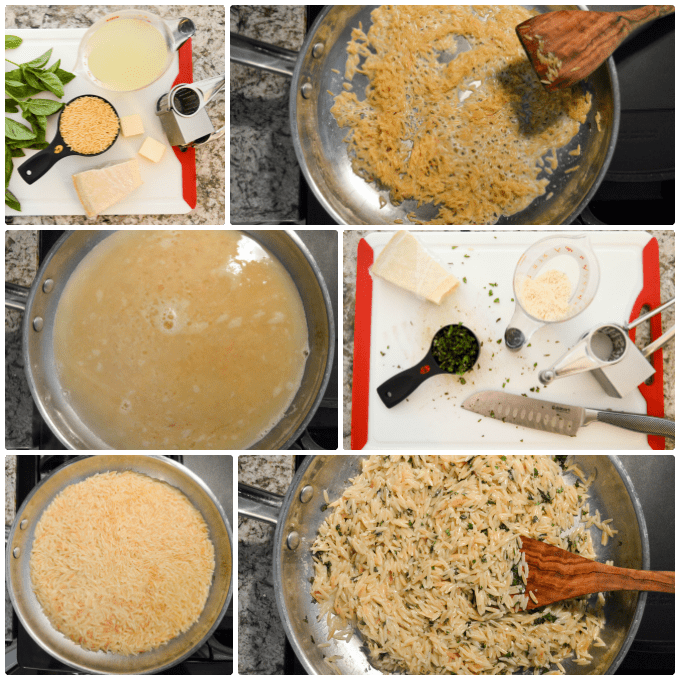 Simple Basil Parmesan Orzo step by step collage