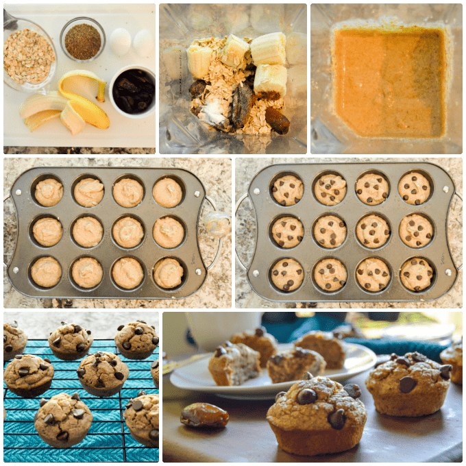 Flourless Banana Oat Breakfast Muffins step by step collage