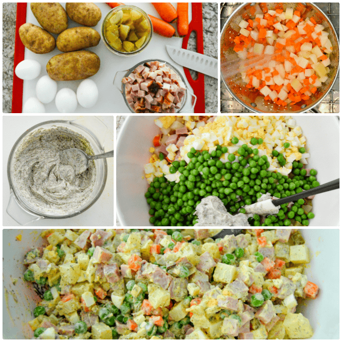 Olivier Russian Potato Salad aka Salat Olivye step by step collage