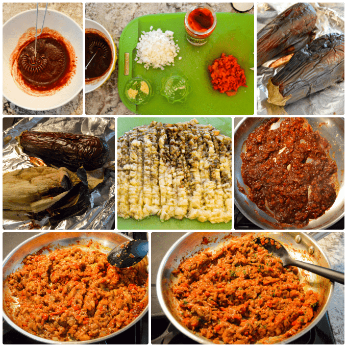 Roasted Red Pepper & Eggplant Spread recipe steps collage