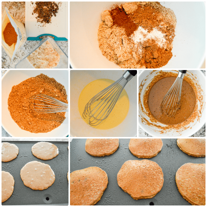Chocolate Cake Almond Flour Pancakes step by step collage