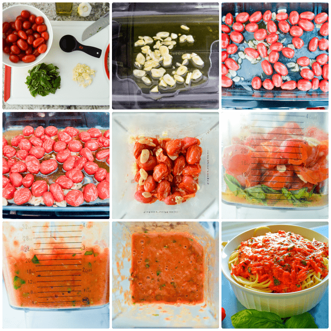 Roasted Tomato Garlic Basil Pasta Sauce step by step collage