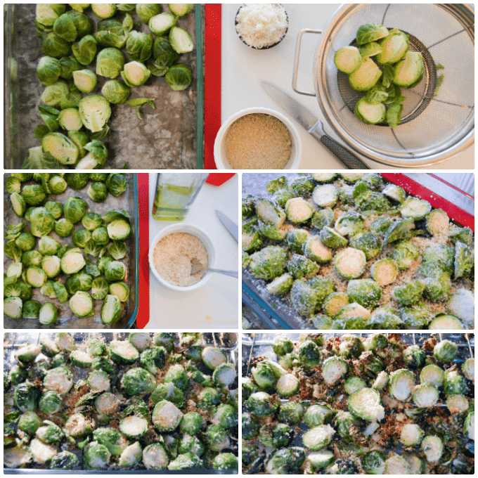 Parmesan Crusted Roasted Brussels Sprouts step by step collage