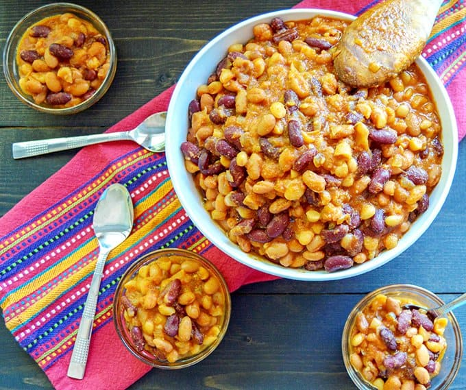 Electric Pressure Cooker Baked Beans Top view in serve bowl
