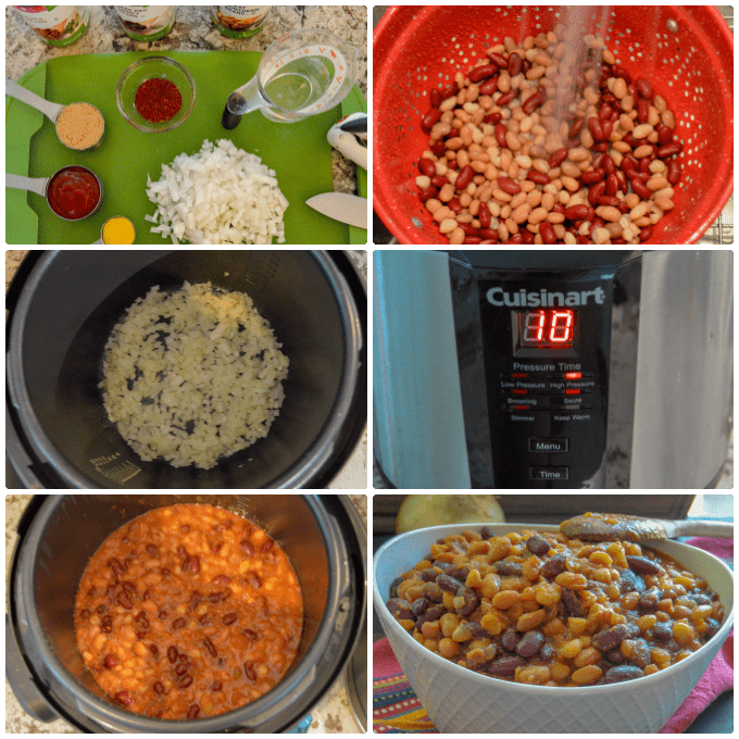 Electric Pressure Cooker Baked Beans Step by Step Collage
