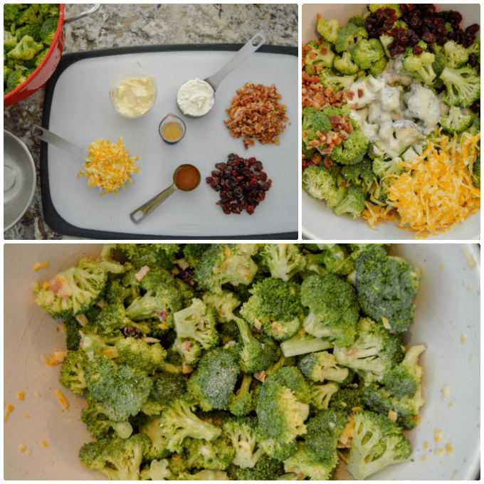 Summer Broccoli Salad with Cranberry & Bacon ingredients and steps